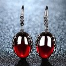 925 Sterling Silver Drop Earrings Garnet Red Earrings Precious Stones 2018 RSS Fashion Earrings