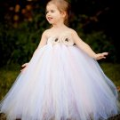 Wedding Gowns Princess Dress White Tutu Dress for Little Flower Girls with Free White Headband