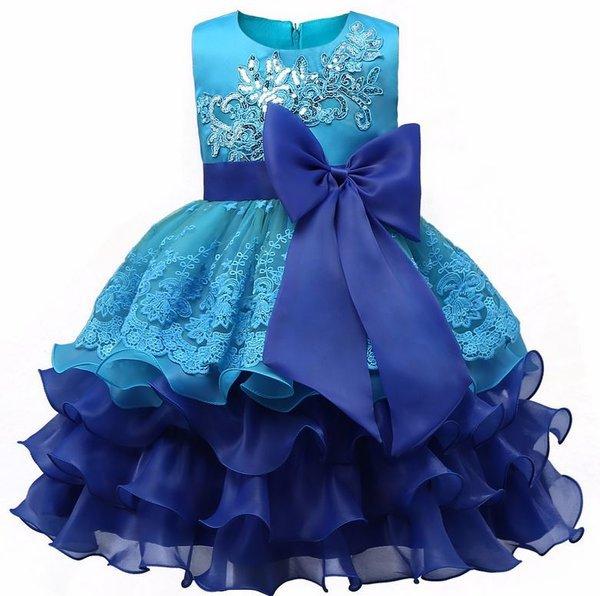 Blue Formal Wear Tiered Organza Ballgown Blue Dresses 2018 RSS Fashion Dress for Girls