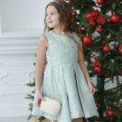 Jacquard Girls Dress Blue Dress High Quality with Golden Embellishments RSS 2018 Dresses
