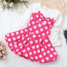 Polka Dots Dress for Infant Girls Dress Pink Dress with Bow Knot Casual Baby Dress