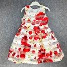 Red Striped Dress Printed Big Floral Spring Dress RSS 2018 Fashion Dress for Girls
