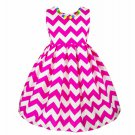 Sleeveless Hot Pink Dress Zigzag Prints Summer Dress for Girls RSS 2018 Fashion Dress for Girls