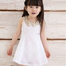 New Christmas Dresses White Dress for Girls with Golden Peter Pan Collar Fashion Dress for Girls