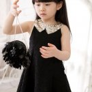 Black Lace Dress for 9 Months Girls with Golden Peter Pan Collar RSS 2018 Fashion Dress for Girls