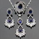 Sapphire Blue Stones CZ 925 Sterling Silver Jewelry Sets For Women Drop Earrings 2018 RSS Jewelries