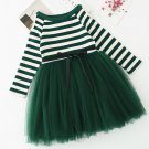 Green Striped Girls Dress for Infant Girls Pageant Props Outfit Cotton Long Sleeve Green Tutu