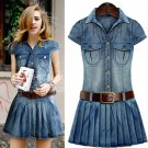 Chic Denim Dress for Girls and Women Western Style Country Girl Pleated Dress