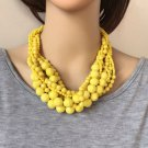 Yellow Statement Necklace Multi-Layered 8 Acrylic Beads Braided Choker Necklace