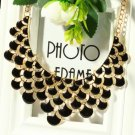 Black Statement Necklace Multi-Layered Enamel Beads Black Choker Necklace