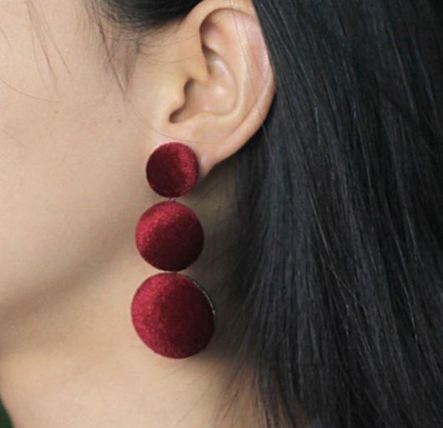 Personality for Women Big Earrings Red Drop Earring Buttons Ear Drops Fashion Red Velvet Earrings