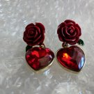 Ready for Shipping Red Rose Earrings Red Drop Earrings Big Heart and Rose Earrings