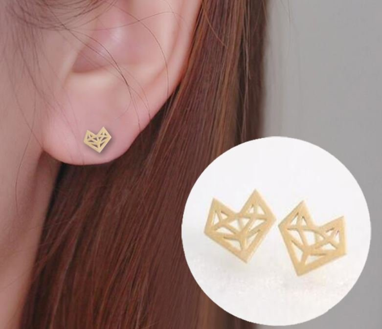 Golden Origami Fox Stud Earrings for Women Simple Origami Fox Jewelry Party Gifts Pendientes Hombre
