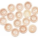 100 Pieces Wooden Buttons Handmade Crafts 15mm Buttons 2 Holes Handmade with Love Buttons