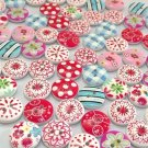 100 Pieces Buttons Two Holes Candy Look 15mm Buttons for DIY Handmade Projects Supplies