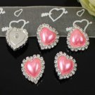 10 Pieces Sparkling Heart Pink Rhinestone Heart to Heart Button Embellishments Crafts Supplies