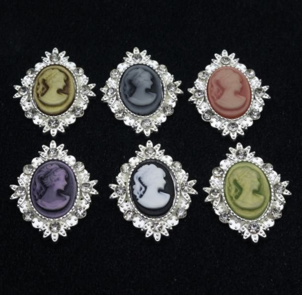 10 Pieces Cameo Buttons Vintage Sewing Flatback Buttons DIY Handmade Crafts Supplies Size:25mm*32mm