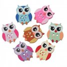 50 Pieces Owl Buttons Mixed Colors Two Hole Wooden Buttons Sewing Handmade Crafts Supplies