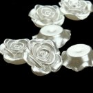 100 Pieces Floral Buttons 12mm White Flower Pearl Beads Decoration Crafts Flat Back Cabochon Beads