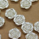 Buy 100 Pieces Floral Buttons 12mm White Flower Pearl Beads Decoration Crafts Cabochon Beads