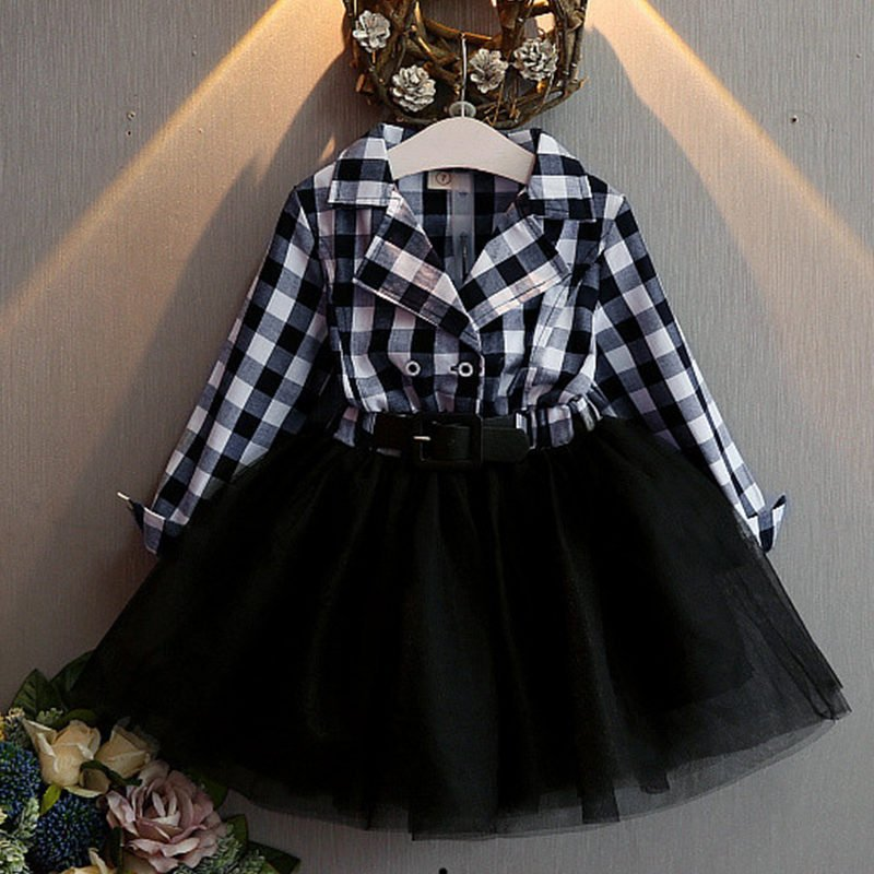 Buy 12-24 Months High Quality Black Dress for Toddler Girls Checkered Fashion Black Dress