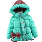 Polka dot Jacket for Girls Aqua Blue Polka Dots with Hood Cotton Duck Down Parkas for Girls
