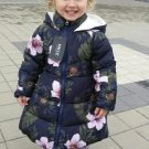 Thick and Warm Navy Blue Winter Coats for Infant Girls Hooded Dress Coats for Winter Trench Coats
