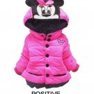 Hooded Minnie Mouse Jacket Thick Parka Padded Cotton Duck Down Pink Coats