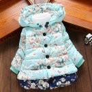 Blue Parkas Floral with Hood Cotton Duck Down Winter Blue Jacket Ready to Ship Coats
