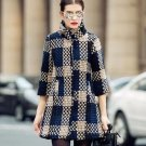 Warm Navy Blue Trench Coats Checkered Quarter Sleeve High Quality 7 Minutes Sleeve Coats for Women