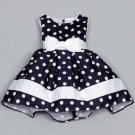 Polka Dots Dress for Toddler Girls Ready for Shipping 5T Girls Dress Navy Blue Formal Wear for Girls
