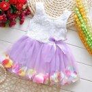 Lavander Color Dress for Infant Girls 6-9 Months Spring and Summer Dress with Floral Hem