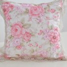 Pink Pillow Case Cover Floral with Embroidery Lacy Hem Living Room Master Bedroom Decoration