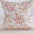 Beige Pillow Case Floral with Embroidered Hem Twill Vintage Pillow Master Bedroom Decoration