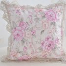 Vintage Pillow Cases Floral Twill Damask Lavander Pinkish Pillow Gift for Mother's Day