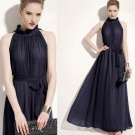 Navy Blue Dress Pageants for Miss Universe Dress Run Away Navy Blue Chiffon Dress