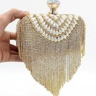 Luxury Bridal Evening Golden Clutch Vintage Pearl Rhinestone Tassel Shoulder Bag
