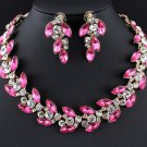 Pink Necklace Luxury Crystals Bridesmaids Jewelry Sets Banquet Elegant Pink Necklace Pink Earrings