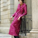 High Quality Magenta XL Coats for Women Long Trench Coats Embroidery Laced Royal Style Outfits