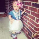 Rodeo Denim Cowgirl Tutu Dress Barn Wedding Outfit for Girls 3T White Dress