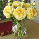 10 Pcs Yellow Rose Silk Flowers for Wedding Kitchen Table Decoration Office Decorations Supplies