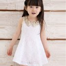 Girls Dress with Golden Peter Pan Collar White Dress White Tutu Dress