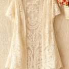 Ivory Lace Cardigan Bolero Shrug Lace Crochet Short Sleeve Ivory Cardigan