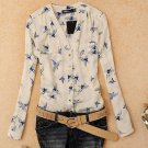 Off White Blouse V Neck Tops for Women with Printed Birds