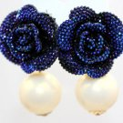 Blue Earrings for Women Simulated Pearl Earrings Birthday Gift Blue Flowers