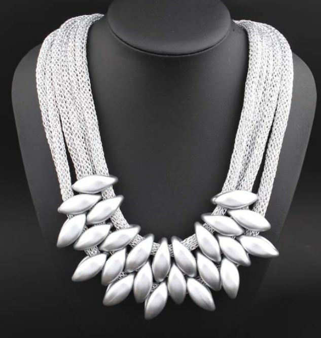 Chunky Necklace for Women Silver Statement Necklace 3 Layers