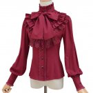 Red Blouse for Women Vintage Ruffled Blouse Red Tops Renaissance Outfit Victorian Blouse