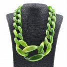 Very Large Necklaces Chunky Green Necklace for Teens and Women Linked Green Chains Fashion Big Bibs