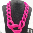 Very Large Necklaces Chunky Hot Pink Necklace for Teens and Women Linked Pink Chain Fashion Big Bibs