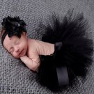 Black Tutus Newborn Props Baby Props Black Skirt with Matching Floral Black Headband